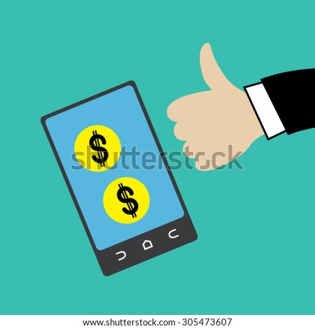 Coins in cellphone with thumb up vector. - stock vector