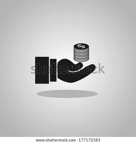 coins in hand - stock vector