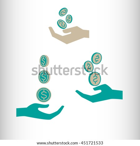 Coins in Hand. Vector icon. - stock vector