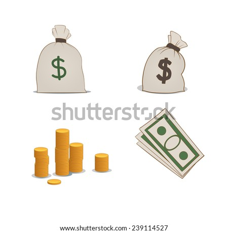 coins, moneybags and greenbacks - stock vector