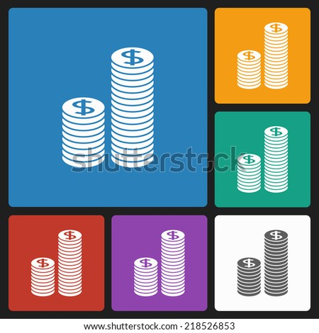 coins stack icon - stock vector