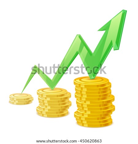 Coins stack vector illustration. Golden money cash. Wealth finance symbol. Green arrow - growing earning income. - stock vector