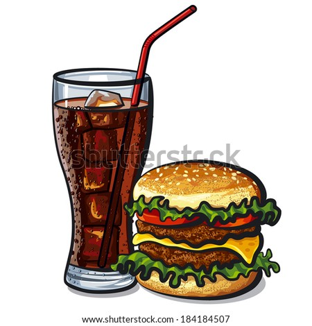 cola and hamburger - stock vector