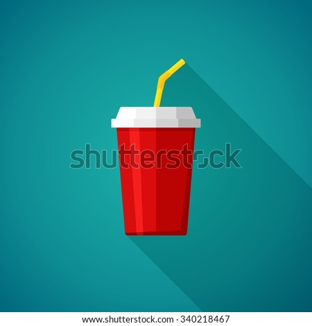 Cola and Soda. Cup for fast food. Drink icon Vector Illustration - stock vector