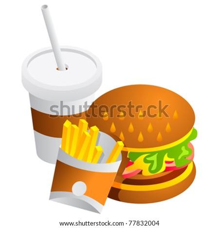 Cola Drink, Fries and Hamburger - stock vector