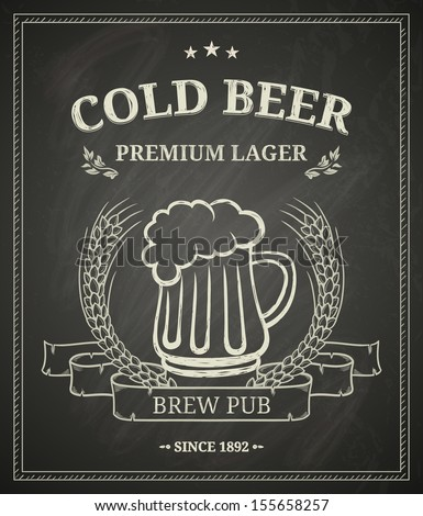 Cold beer poster on chalkboard - stock vector