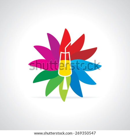cold drink over colorful abstract - stock vector