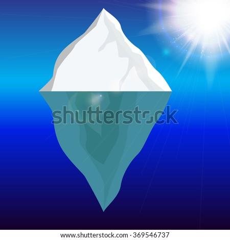 Cold Iceberg in Ocean Under Sun Shine. Vector Illustration. EPS10 - stock vector