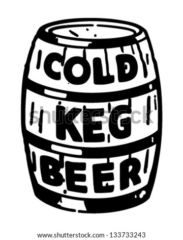 Cold Keg Beer - Retro Clip Art Illustration - stock vector