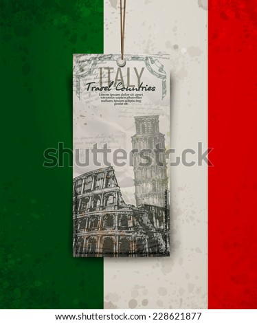 Coliseum in Rome, Italy. Colosseum, Leaning Tower hand drawn vector illustration. Vector format - stock vector