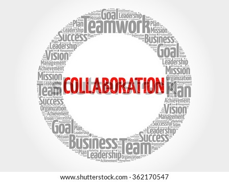 Collaboration circle word cloud, business concept - stock vector