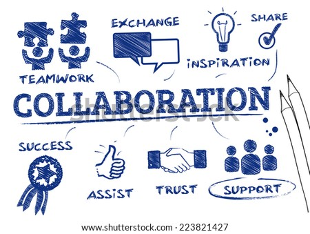 collaboration concept. Chart with keywords and icons - stock vector