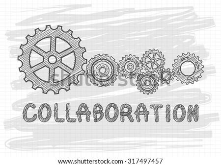 Collaboration Concept. Technical drawing of gears - stock vector