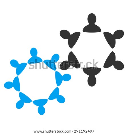 Collaboration icon from Commerce Set. Vector style: bicolor flat symbol, blue and gray colors, rounded angles, white background. - stock vector