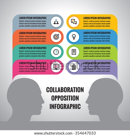 Collaboration infographic concept vector illustration. Opposition infographic concept vector illustration. Human heads and colored information blocks with icons. Infographics design elements. - stock vector