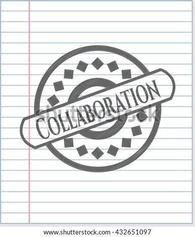 Collaboration pencil emblem - stock vector