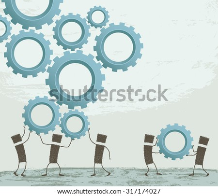 Collaboration team. Stick figures holding over their heads several gears. Together, the work is done better. EPS10 Illustration - stock vector