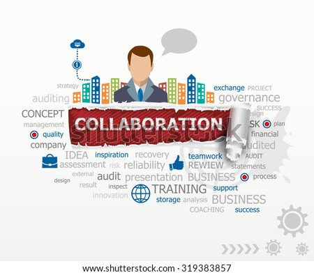 Collaboration word cloud concept and business man. Collaboration design illustration concepts for business, consulting, finance, management, career. - stock vector