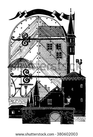 Collage graphic design on the theme of an old European city. The silhouette of the towers and the door of the house. - stock vector