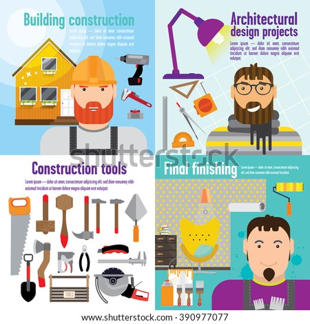 Collage of colourful pictures - architectural design project, building construction and finishing repair, furniture. We can see a man with beard on every picture: architector, builder and painter. - stock vector