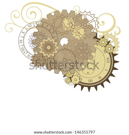 Collage with different gears, dials and swirls. Vector elements for design. - stock vector