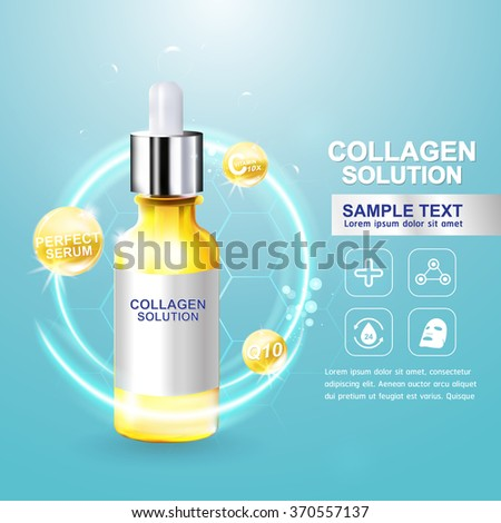 Collagen Serum and Vitamin Background Concept Skin Care Cosmetic. - stock vector