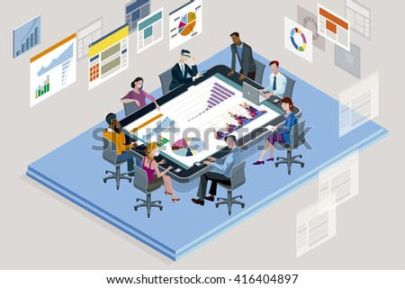 Colleagues at an office meeting with Big Tablet.  - stock vector