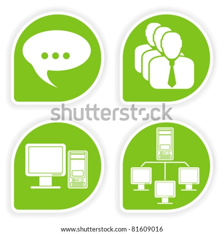 Collect sticker with computer icon and customer, vector illustration - stock vector