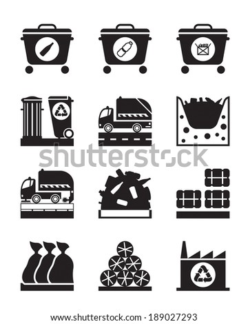 Collection and processing of garbage - vector illustration - stock vector