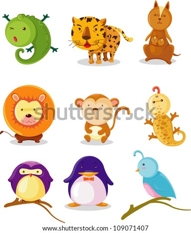 COLLECTION  ANIMAL ALPHABET I-Q - stock vector