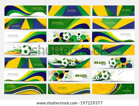 Collection banner and header set Brazil flag colors concept presentation vector design - stock vector