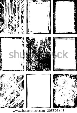 Collection black grunge background and frame - stock vector