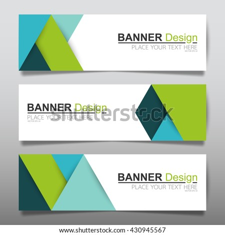 Collection blue and green horizontal business banner set templates. clean modern geometric abstract background layout for website design vector. simple creative cover header. in rectangle size. - stock vector
