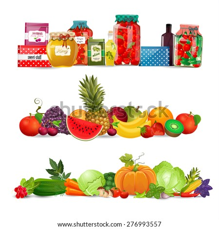 collection borders with preserve food, vegetables, fruits. autumn harvest - stock vector
