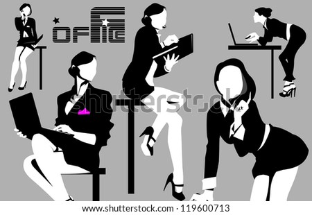 collection businesswoman at different working for the office; - stock vector