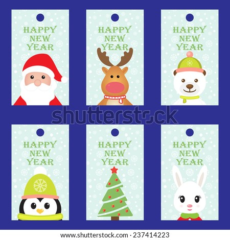 Collection Christmas labels in vintage style with holiday symbols - Santa Claus, Rudolph reindeer, White bear, Penguin, Rabbit and Christmas tree. Winter background with snowflakes. Vector image.  - stock vector