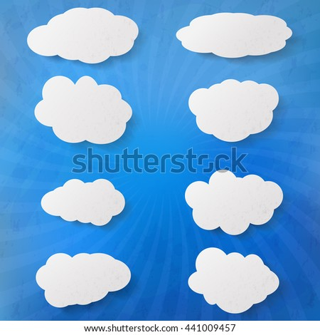 Collection clouds. Set of clouds. Elements cloud design. Set of cloud-shaped paper banners. Clouds of white paper. Abstract clouds. Drawing paper clouds. Illustration clouds. Vector illustration. - stock vector