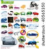 COLLECTION_7 Exclusive Series of Auto, Motors and Car Icon Set for design, vector illustration. Glossy symbols for Web. Set abstract color element corporate templates. Just place your company name. - stock vector