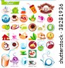 COLLECTION_3  Exclusive Series of food symbols and icons for menu restaurant. Vector color set for Web. Abstract creative element corporate templates. Just place your own company name. - stock vector