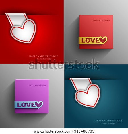 Collection festive valentines day card with heart vector design element template, Vector Eps 10 - stock vector