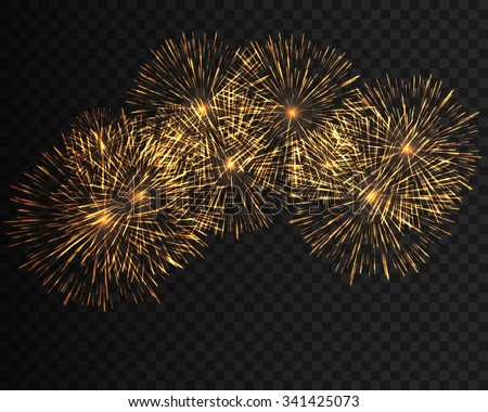 Collection firework, festive fireworks of yellow colors arranged on a black background. Isolated outbreaks, firework transparent to paste. Sparkling firework abstract shapes. Vector illustration EPS10 - stock vector