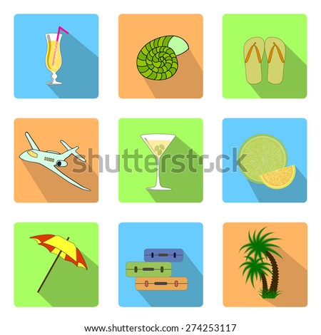 Collection flat icons with long shadow. Travel and vacation symbols. Trendy banners and signs � summer and journey. Vector illustration - stock vector
