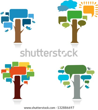 collection four trees with speech bubble - stock vector
