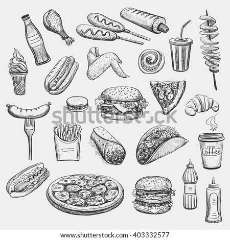 Collection freehand drawing sketches on the theme of food, fast food. Isolated objects on a light background. Hot dog , hamburger , sausage , soda , ice cream , pizza , coffee , ketchup , croissant - stock vector
