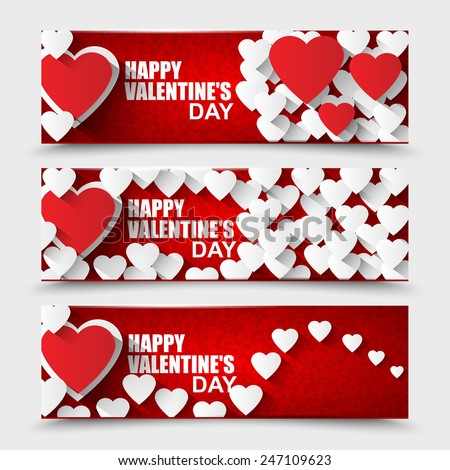 Collection Happy Valentines Day banners - stock vector