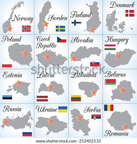 Collection II. Northern, Central and Eastern Europe countries. Sixteen separate illustrations (icons). Easy to edit.  - stock vector