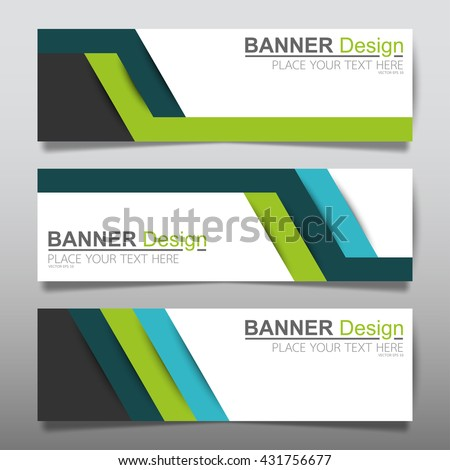 Collection line green and blue horizontal business banner set vector templates. clean modern geometric abstract background layout for website design. simple creative cover header. in rectangle size - stock vector