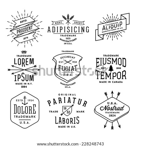 collection monochrome hipster vintage label, logo, badge for your business or t-shirt print with arrow, crown, sword, anchor, ribbon, fir tree - stock vector