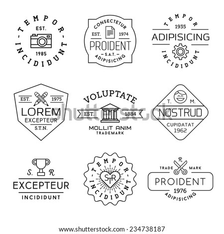 collection monochrome hipster vintage label, logotype, badge for your business or t-shirt print with photo camera, gear, pencil, bank, face,  champion cup, heart, scissors - stock vector