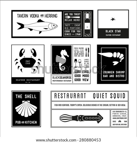 collection monochrome hipster vintage label, logotype, badge for your business, restaurant, bar, tavern, or t-shirt print with crab, shrimp, starfish, shell, squid, fish, sea horse fork, bottle, vodka - stock vector